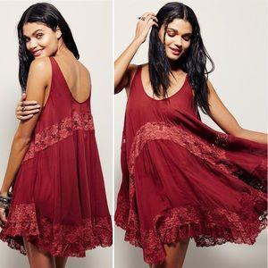 🆕 Free People She Swings Cami Slip Dress in Red